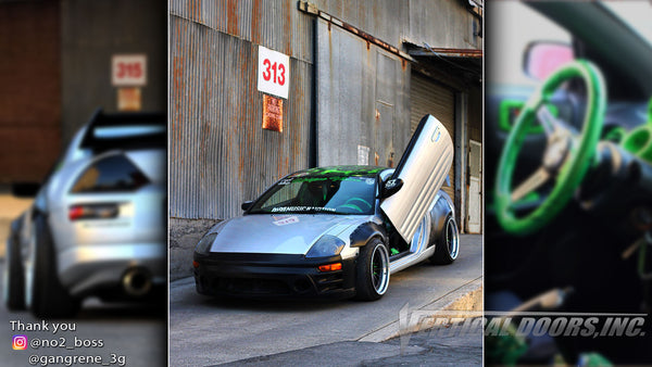 Check out Austin's @gangrene_3g Mitsubishi Eclipse from California featuring Vertical Lambo Doors Conversion Kit from Vertical Doors, Inc.