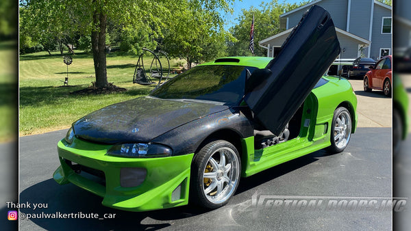 Check out Keith's @paulwalkertribute_car Mitsubishi Eclipse from Arizona featuring Vertical Lambo Doors Conversion Kit from Vertical Doors, Inc.