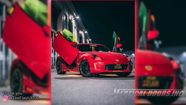 Check out Katrina's Nissan 370Z from San Francisco, CA featuring Vertical Lambo Doors Conversion Kit by Vertical Doors, Inc.