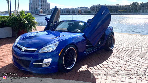 Check out @Misterjonesz Saturn Sky from Maryland with Vertical Lambo Doors Conversion Kit for Vertical Doors, Inc.