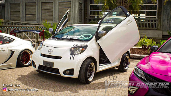 Check out Devin's @devineverlanday Scion IQ from Biloxi MS featuring Vertical Doors, Inc., vertical lambo doors conversion kit.