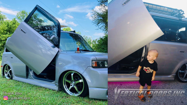 Check out Jon's @jjakamayo Scion XB from Tennessee featuring Vertical Doors, Inc., Vertical Lambo Doors Conversion Kits.
