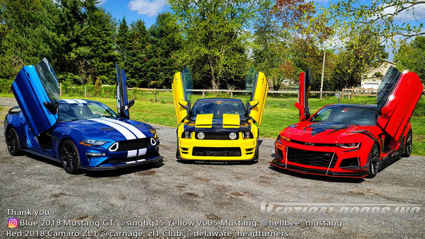 Check out Delaware headturners @delaware_headturners members Ford Mustang's and Chevy Camaro featuring Vertical Lambo Doors Conversion Kit from Vertical Doors, Inc.