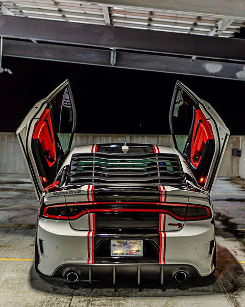 Christopher's Dodge Charger Hellcat featuring Vertical Doors, Inc., vertical lambo doors conversion kit.