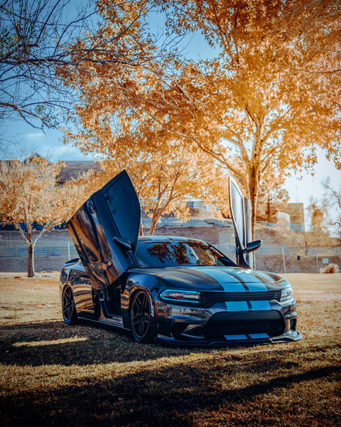 Check out Jonathan's Dodge Charger SXT featuring Vertical Doors, Inc., vertical lambo doors conversion kit.