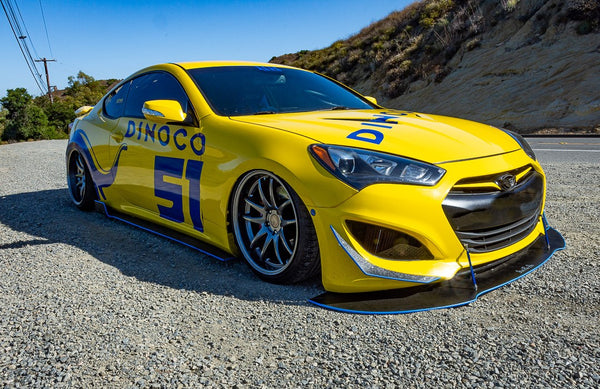 Check out Zackery's @Dinoco_thunder_51 Hyundai Genesis Coupe from California Featuring and Vertical Doors, Inc., vertical lambo doors conversion kit.