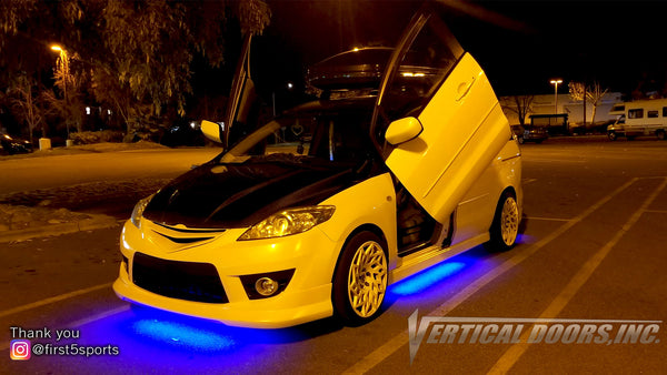 Where there's a will there's a way; Ricky's Mazda 5 custom vertical lambo door kit