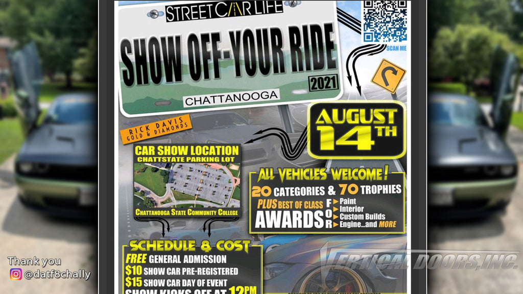 CAR SHOW | 8/14/2021 | Show off your ride | Chattanooga, TN | @datf8chally Challenger featuring Vertical Lambo Door Conversion Kit.