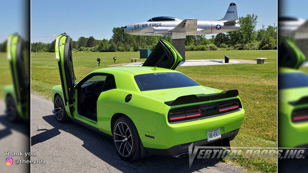 Check out Crystal's @theevl01 Dodge Challenger from New York featuring Vertical Doors, Inc., Vertical Lambo Doors Conversion Kits.