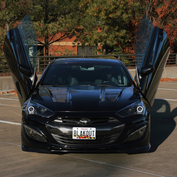 Vehicle Evolution's Hyundai Genesis Coupe featuring Vertical Doors, Inc., vertical lambo doors conversion kit.