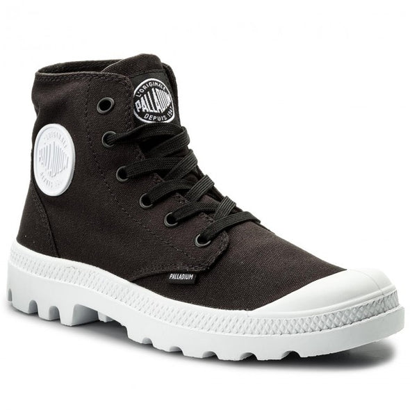 PALLADIUM Blanc Hi Unisex Black/White Canvas High Top Sneakers Ankle Boots