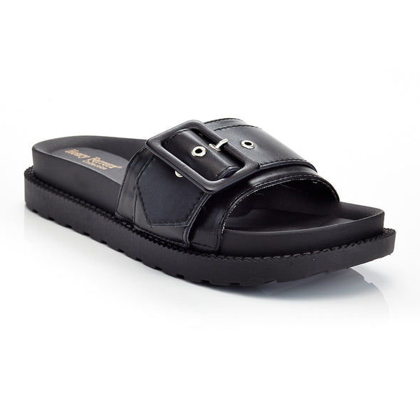 HENRY FERRERA Black Buckle Footbed Slide Sandals Women's Size 7