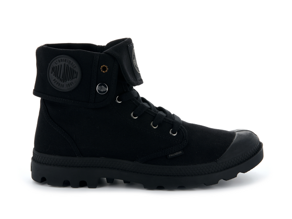 PALLADIUM Mono Chrome Baggy Unisex Fold Down Canvas Boots in Black