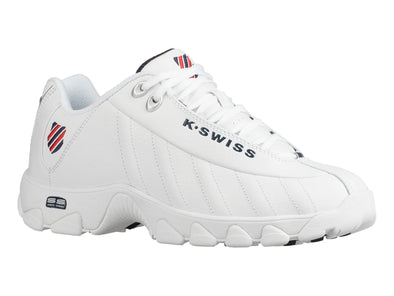 K SWISS ST329 CMF Men's Memory Foam Athletic Sneakers in White/Navy/Red