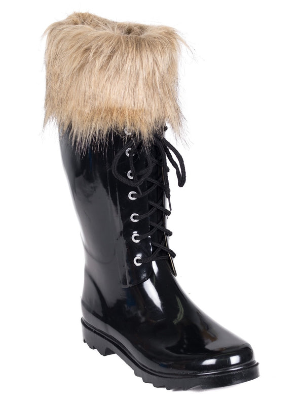 FOREVER YOUNG Black Patent Faux Fur Trimmed Below Knee Rain Boots WOMEN'S Size 9