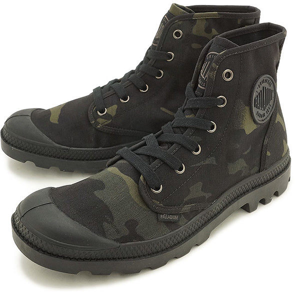 PALLADIUM Pampa Hi Multicam Men's Camouflage Hiking Combat Boots in Black Camo
