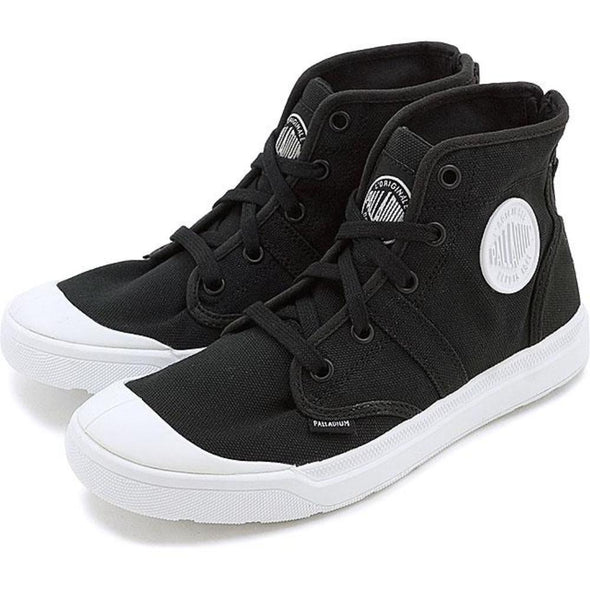 PALLADIUM Pallarue Hi Zip CVS Black/White Women's High Top Back Zip Sneakers