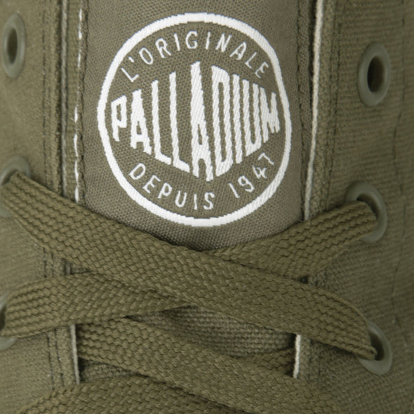 PALLADIUM Blanc Hi Unisex Dark Olive/White Canvas High Top Sneakers Ankle Boots