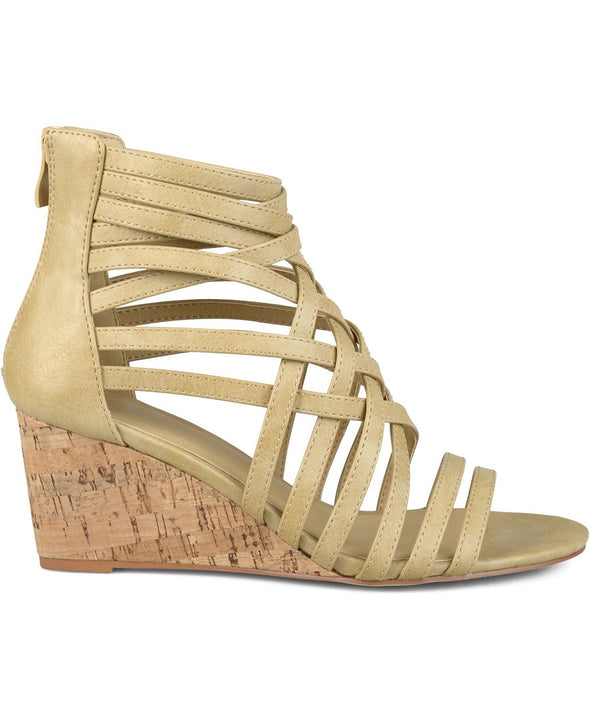 JC Journee Collection Twyla Taupe Strappy Cork Wedge Sandal Women's Size 12