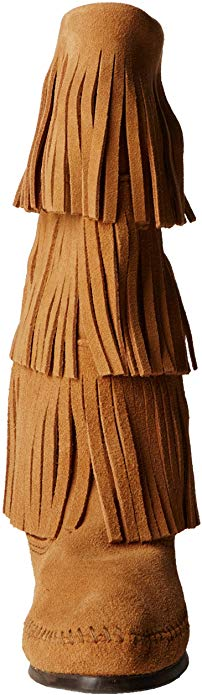 Minnetonka Women's Taupe 3-Layer Fringe Boots #1638