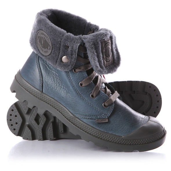 PALLADIUM Baggy Leather S Men's Fur Lined Nordic Blue/Metal Ankle Boots