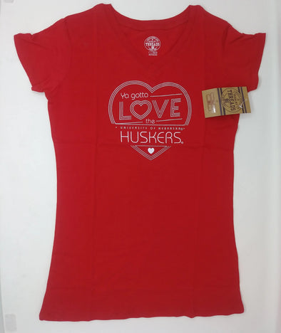 Ya Gotta Love THE HUSKERS University of Nebraska Girl's Babydoll Tee Size L (10/12)