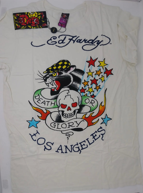 Ed Hardy by Christian Audigier Men's White DEATH OR GLORY T-Shirt