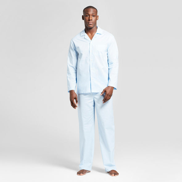 Goodfellow & Co Men's Bayshore Blue 100% Cotton Pajama Set Top & Bottom