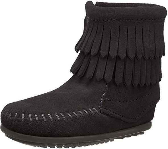 Minnetonka Black Double Fringe Bootie (Toddler/Big Kid) #2299