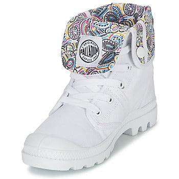 PALLADIUM Pallabrouse Baggy CMYK Women's Canvas Fold Over Lace Up Hiking Boots in White/Multi/Cmykpsl