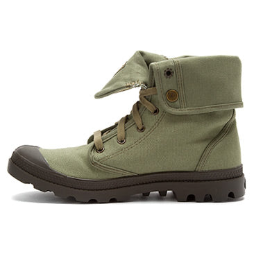 PALLADIUM Baggy Men's Canvas Otan/Army Green Fold Over Lace Up Hiking Combat Ankle Boots