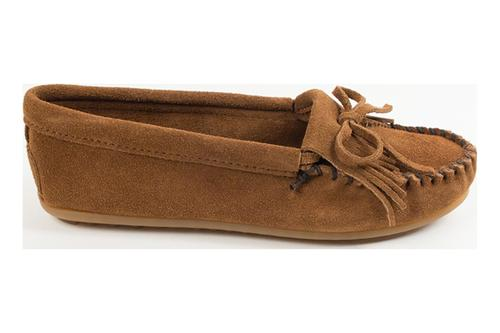 Minnetonka Women's #69783 Brown Kilty Suede Leather Moccasin