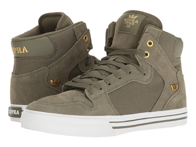 Supra Vaider Men's Hi-Top Skate Boarding Shoes in Olive/White