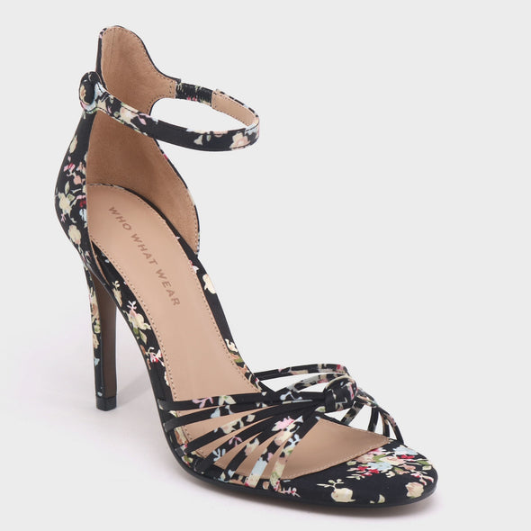 WHO WHAT WEAR Truth Black Floral Pumps Sandals Women's Size 8.5