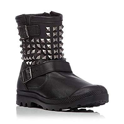 PALLADIUM Poundy Leather Black Women's Studded Ankle Boots Side Zip