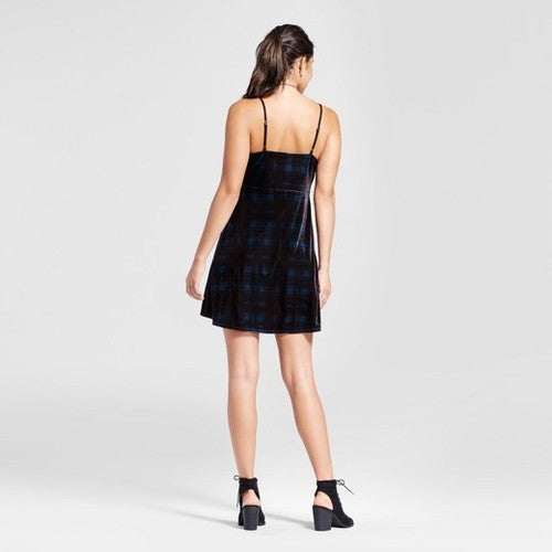 XHILARATION Blue Plaid Velvet Slip Dress Women's Size M