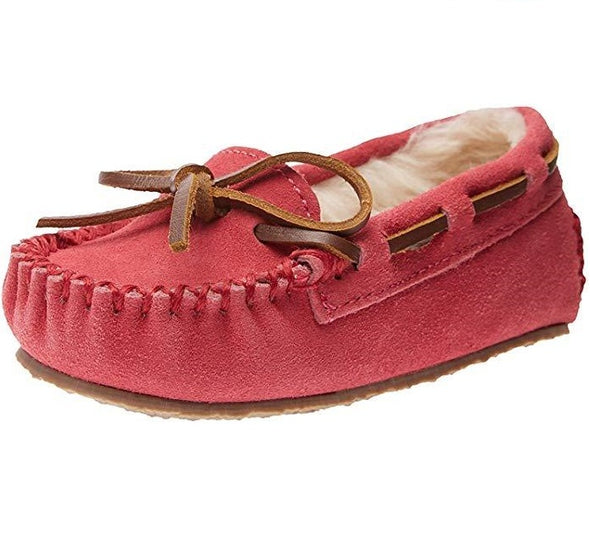Minnetonka Hot Pink Pile Lined Suede Leather Kids/Toddler Slipper Moccasin #4815