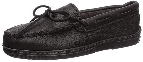 Minnetonka Women's Black Moosehide Classic Slip-On #499