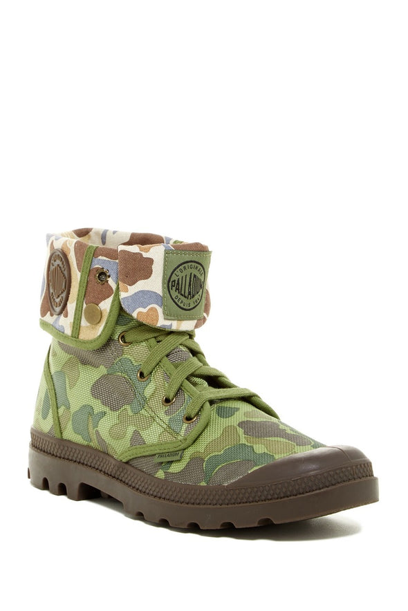 PALLADIUM Baggy Men's Canvas Fold Over Hiking Combat Ankle Boots in Green Camo