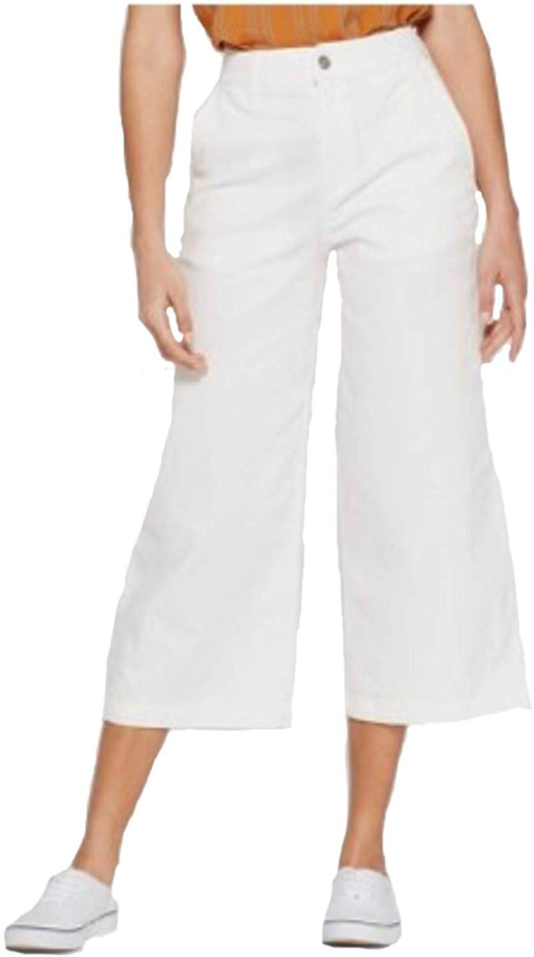 A NEW DAY Women's Wide Leg Crop High Rise White Culotte Pants