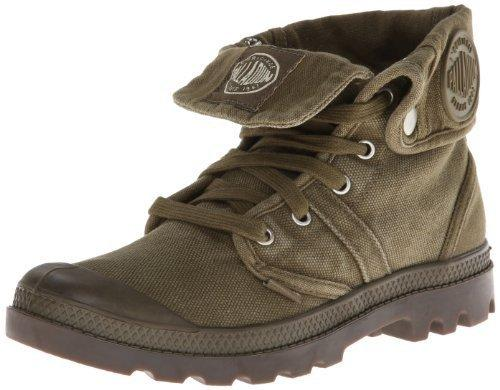 PALLADIUM Pallabrouse Baggy Men's Fold Over Lace Up Canvas High Top Boots in Dark Olive/Dark Gum