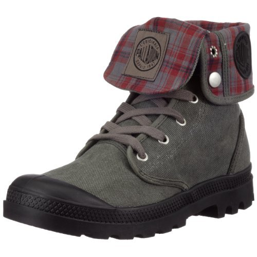 PALLADIUM Baggy Stonewash/Metal Plaid Men's Fold Over Lace Up Combat Hiking Boots