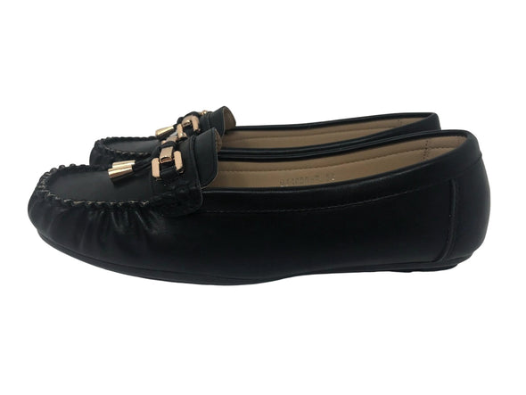LADY GODIVA Black Faux Leather Boat Shoe with Gold Buckle Women's Size 6.5