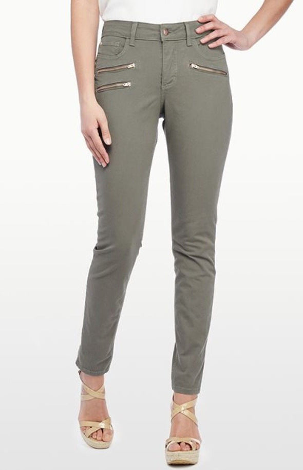 NYDJ Not Your Daughters Jeans SUPER SKINNY DARK OLIVE Zippers $124 Women's Petite Pants