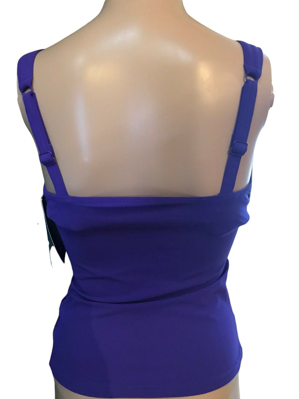 NWOT by GOTTEX E306-1D18 Amethyst Ruched TANKINI Bathing Suit Top
