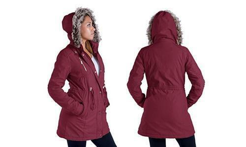 Lee Hanton BURGUNDY Parka 3/4 Length Hooded JACKET Women's Size Small
