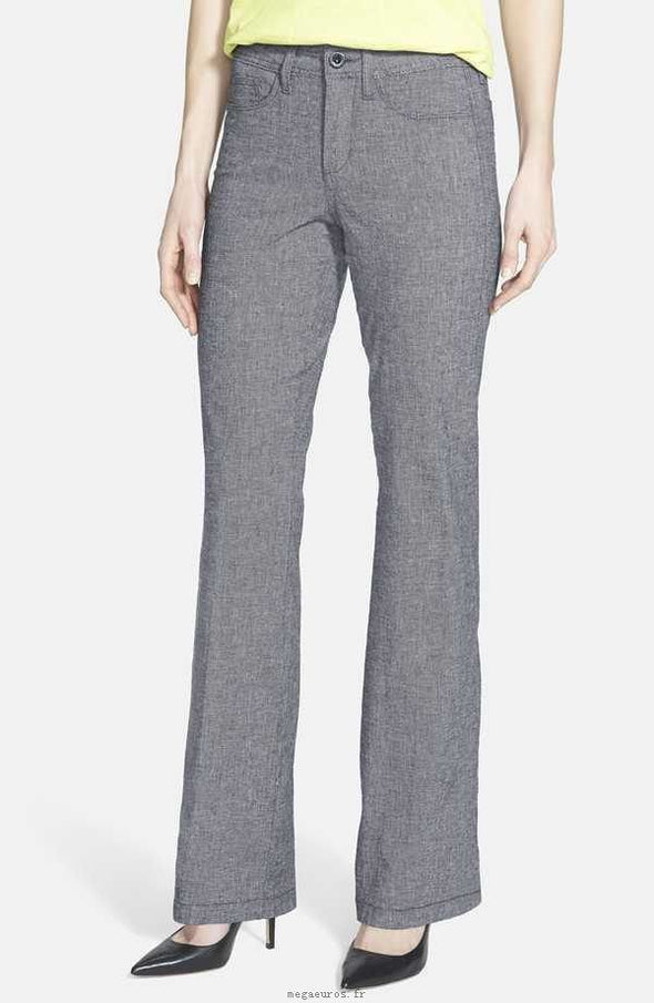 NYDJ Not Your Daughters Jeans Wylie Cotton Linen Black White Trousers Petite