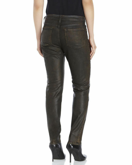 NYDJ Not Your Daughters Jeans COATED BROWN BLACK B3 Beat Skinny Petite
