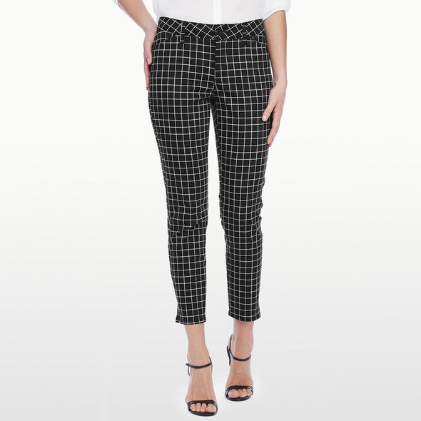 NYDJ Not Your Daughters Jeans Celia Ankle Grid Print Black Trouser Women's Petite Pants