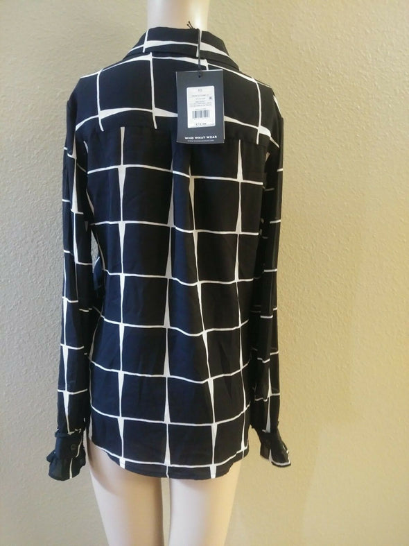 WHO WHAT WEAR Pristine Geo Tilt Button Up Sheer Blouse Women's Size XS